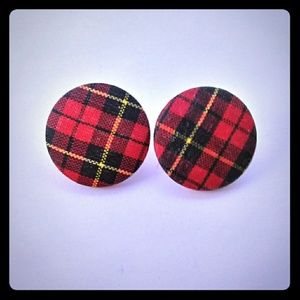 Vintage Red Plaid Post Earrings